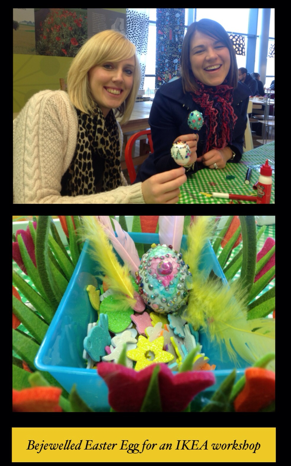 Easter eggs embellished with paint and jewels at an IKEA arts and crafts workshop at IKEA Lakeside Thurrock, UK