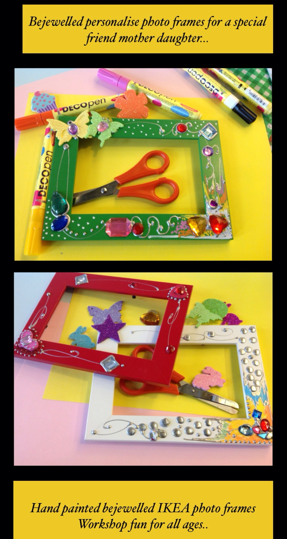 IKEA photo frames decorated during an IKEA arts and crafts workshop as part of IKEA's school holiday children's entertainment at IKEA Lakeside, Thurrock, UK