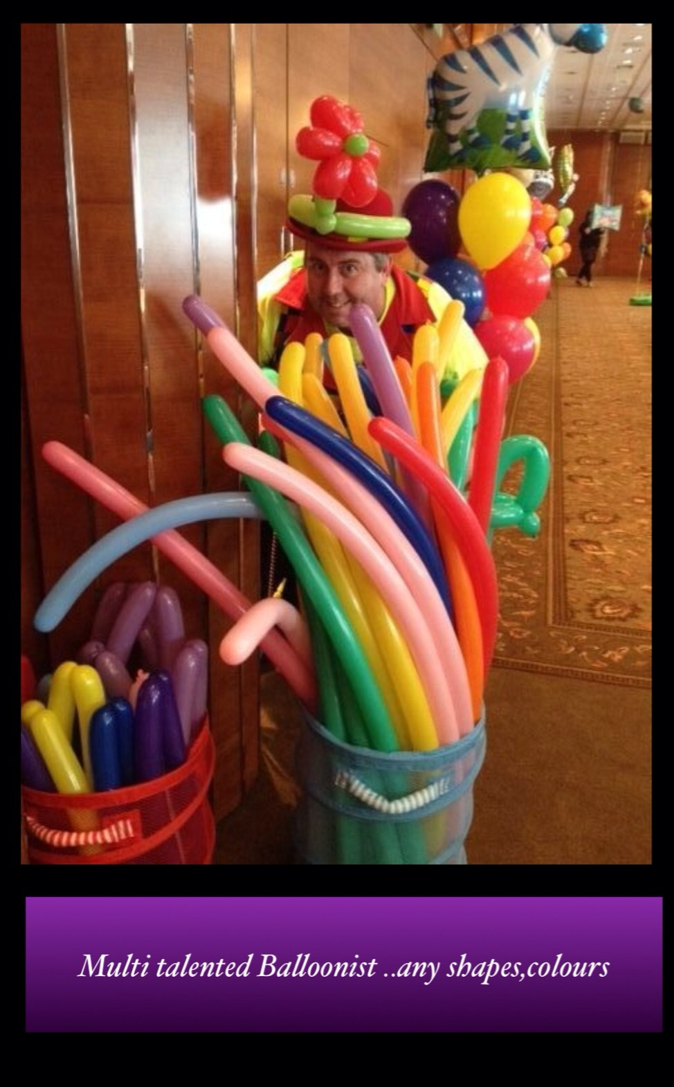 Our balloon modelling entertainer is multi talented - any size, any shape, any colour, ...
